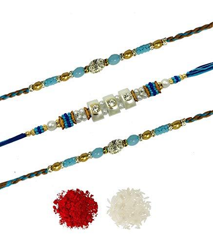 Evisha 3 Pcs Blue Beads Rakhi Set Combo For Brother Bhaiya Bhai