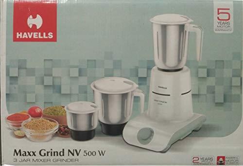 Havells Maxx Grind NV 500W, White and Grey, 3 Jar