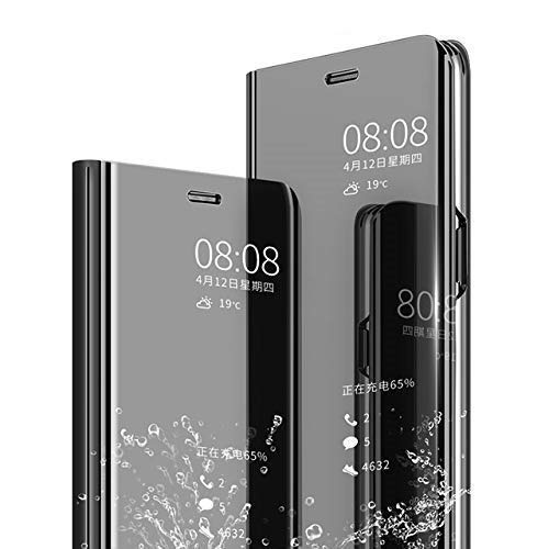 Dr2s fashion Retail Mirror Flip Cover Semi Clear View Smart Cover Phone S-View Clear, Kickstand FLIP Case for Samsung Galaxy Note 10 Pro - Black