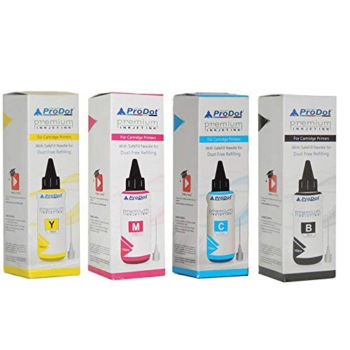 Prodot Premium Refilling Ink for EPSON L/M/R/T/WF Series Printers- Pack of 4 Color (B C M Y) 100 ML X 4