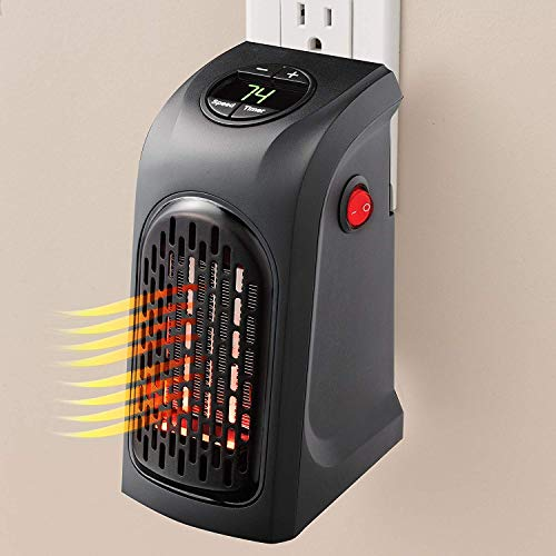 Risentshop Small Electric Handy Room Heater Compact Plug-in The Wall Outlet Heater 400 Watts Garage Bathroom Home Handy Air Warmer Blower Adjustable Timer Digital Display for Office Camper Heater