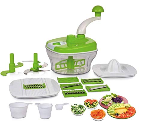 neha enterprises Neha Manual Food Processor - Chopper, Blender, Atta Maker, Dough Kneader,14 Pieces (Multicolor)