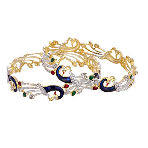 Zeneme Bangle Gold Plated American Diamond Studded Handcrafted Artistically Desgined Dancing Peacock Dual Tone Kada Bangle Jewellery For Girl and Women (2.4)