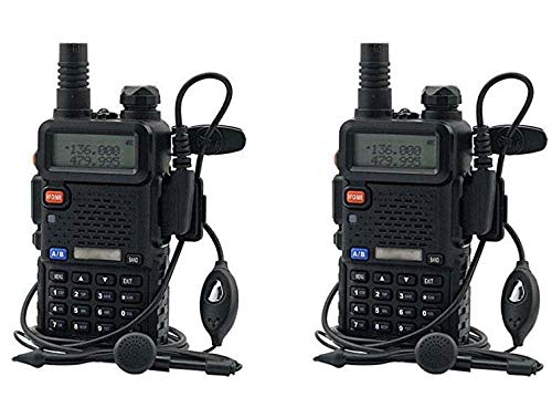 RENMAX UV-5R Long Range Transceiver 136-174/400-520 MHz 5W Dual Band FM Radio CTCSS DCS Walkie Talkie with Earpiece -2 Pack