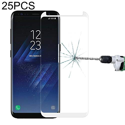 LIDGRHJTHTGRSS Mobile Phone Accessories Screen Protectors 25 PCS for Galaxy S8 Plus / G955 0.26mm 9H Surface Hardness 3D Explosion-Proof Non-Full Edge Glue Screen Curved Case Friendly Tempered Glass Film (Black)