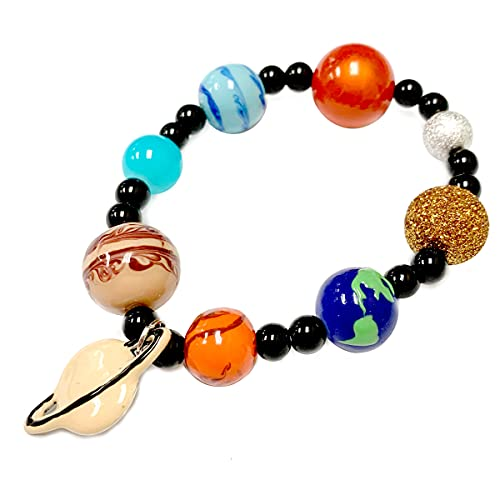 Fiona Accessories Space Planet Bracelet Jewelry Universe Guardian Galaxy Solar System Astronomy Beads Stretch Charm Handmade Bracelet Gift For Women In Gift Box With Organza Bag