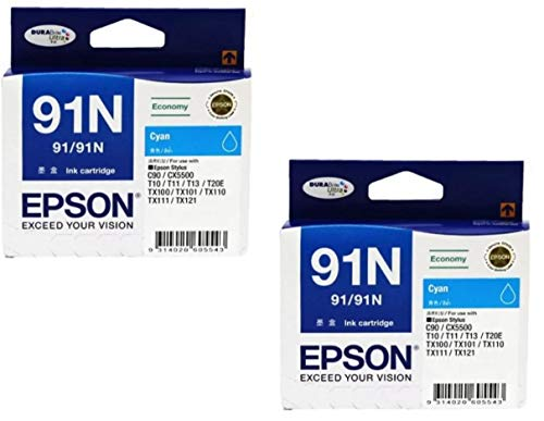 Epson Combo C13T107290 91 Cyan Ink Cartridge (Set of 2) Bundle with ITGLOBAL 3 in 1 Multi-Function Anti-Metal Texture Rotating Ballpoint Pen, Creative Mobile Phone Stand, Stylus Pen (Very Colors)