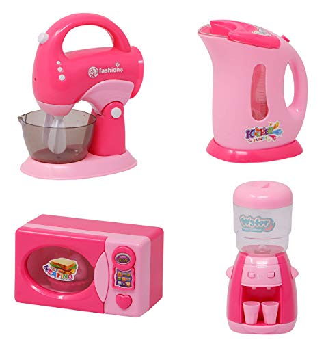NIYAMAT® 4Pcs Battery Operated Pretend Play Kitchen Household Appliance Play Set for Kids (Water Dispenser, Cattle, Microwave and Whipped Machine)