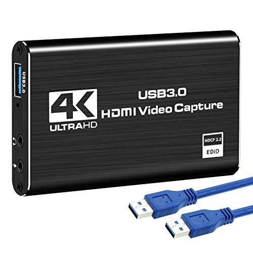 Microware 4K Audio Video Capture Card, HDMI USB 3.0 Video Capture Device, Full HD 1080P 60FPS for Game Recording, Live Streaming Broadcasting