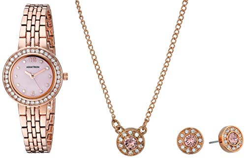 ARMITRON LADIES GIFTSET 75/5685PMRGST ROSEGOLD CASE W. SWAROVSKI CRYSTAL W. MATCHING NECKLACE AND EAR RING