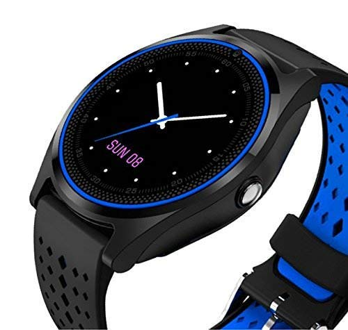 AYL V9 Pro Smart Watch Bluetooth Attractive Look with Camera Band Replaceable for All andoid/iOS Phones (Blue