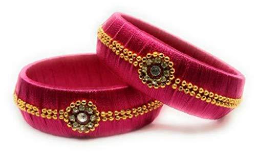 Mayank Creations Silk Thread Bangles Pink Set of 2 (2.8)