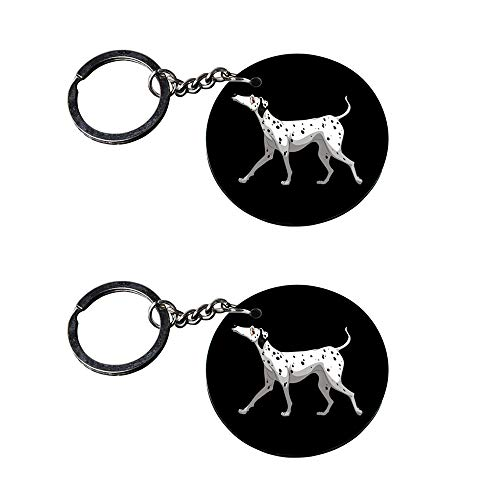 Anuman007   Dogs Neck Keychain   Keychain for Phone Cover Printed Wooden Keychains   Circle Shape Set of 2 keyrings 2x2 inch