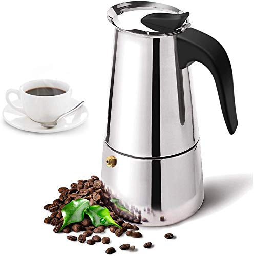 KPJ MART Stainless Steel Espresso Coffee Maker || Percolator Italian Coffee Maker || Mocha Cappuccino and Latte Single-Origin Pour, Stainless Steel Pot.