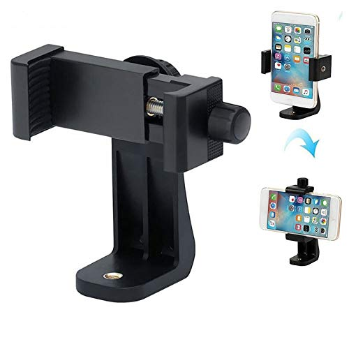 Photron PHMH300 Universal 360 Degree Rotating Mobile Holder Tripod Mount Adapter Clip with Adjustable Clamp for Smart-Phones & All Types of Tripods (Black)