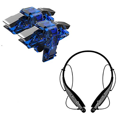 I-Birds Enterprises® Upgrade Mobile Trigger Controller Joystick Sensitive Click Shoot and Aim Button L1R1 Game Accessory Kit & HBS730 Bluetooth in-Ear Neckband Headset For Android & iOS All Smart Phone (Assorted)