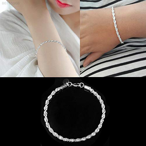 ELECTROPRIME 6626 Hand Chain Twisted Rope Silver Christmas Bangle Lady Charm