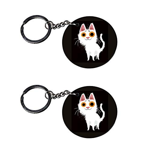Anuman007 | cat Keychains for Boys | Keychain for Phone case Printed Wooden Keychains | Circle Shape Set of 2 keyrings 2x2 inch