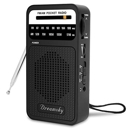 DreamSky Pocket Radios, Battery Operated AM FM Radio with Loud Speaker, Great Reception, Earphone Jack, Best Gifts for Elderly, Portable Transistor Radio for Walking, Camping