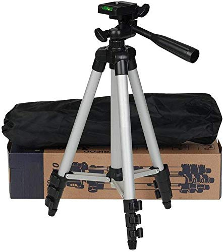 JANROCK 3110 Portable and Foldable Metal Tripod with Mobile Clip Holder Bracket, Stand with 3-Dimensional Head for Making Like and Tiktok Videos