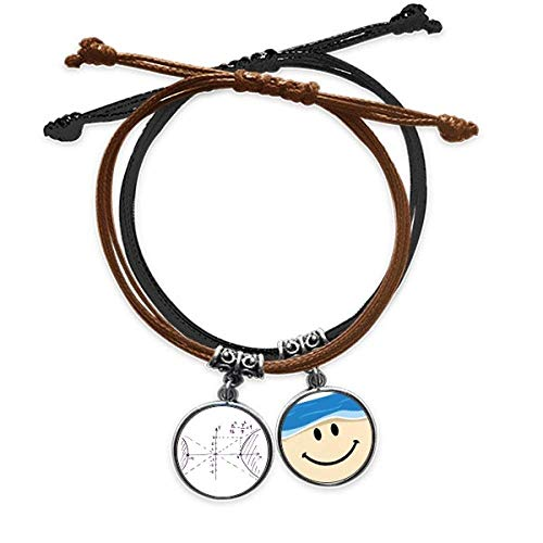 offbbFormula Function Hyperbola Area Bracelet Rope Hand Chain Leather Smiling Face Wristband