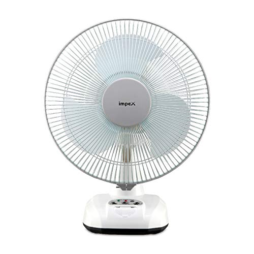 Impex Breeze-D3 Solar Rechargeable Fan with LED Light 3 Speed Mode 3 Blade Table Fan (White)