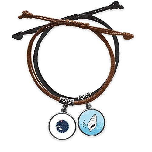DIYthinkerPowder Blue Flower Plant Paint Bracelet Rope Hand Chain Leather Conch Wristband
