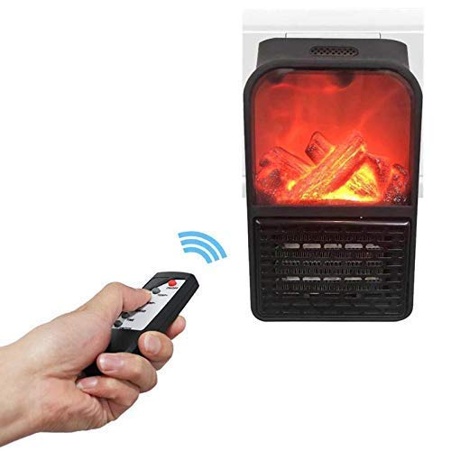 NAXUE Portable Flame Space Heater with Remote Control | Room Heater with Timer Overheat Protection | Room Heater With Remote for Home, Office, Hotel | [900w-BLACK]