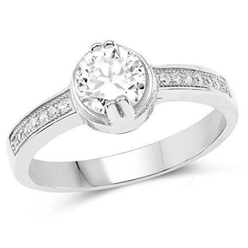 Johareez 3.08gms White Cubic Zirconia Rhodium Plated .925 Sterling Silver Round Shape Solitaire Ring for Women