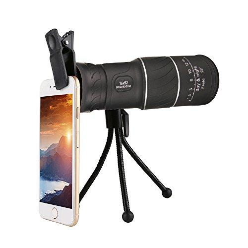 Decdeal Portable 16 * 52 Adjustable Single Telescope Full Optical Night Vision Hiking