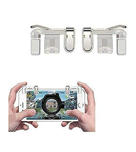Techzon PUBG Mobile Game Controller, Gamers Yard 1 Pair Sensitive Game Triggers for PUBG Game Joysticks Gamepad for Android iOS Phones Transparent for Samsung Galaxy A50