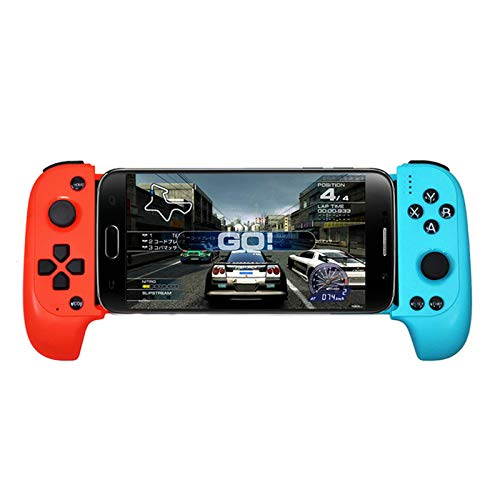 Leoie Wireless Bluetooth Game Controller Telescopic Gamepad Joystick for Samsung Xiaomi Huawei Android Phone PC Red Blue