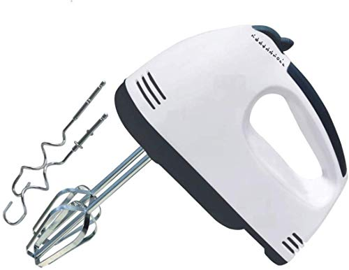 H.R. NAKRANI Enterprise Hand Mixer Eletric White 300W with 7 Speed Whisk Mixer Control & Detachable Stainless-Steel Finish 2 Dough Hooks and 2 Whisks Beater & Whisker