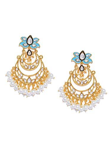 Zaveri Pearls Enamelling Blue Kundan Dangle Earrring For Women-ZPFK8740