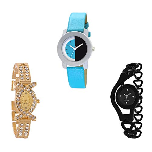 TIMENTER Chain Analog Black and Gold Color Dial Women Watch - G274-G125-G68 (Pack of 3)