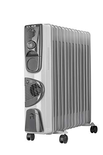 Usha 3813F PTC 2500-Watt Oil Filled Radiator (White)