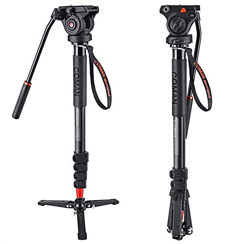 COMAN KX3232 Lightweight Aluminum 73.2 Inch Monopod Kit Flip Lock 5-Section Leg and Q5 Fluid Head with Removable Support Stand Max Load 13.2 LB for SLR and DSLR Cameras or Video