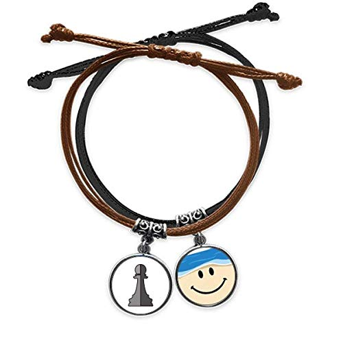 offbbCheckerboard Pawn White Word Chess Bracelet Rope Hand Chain Leather Smiling Face Wristband