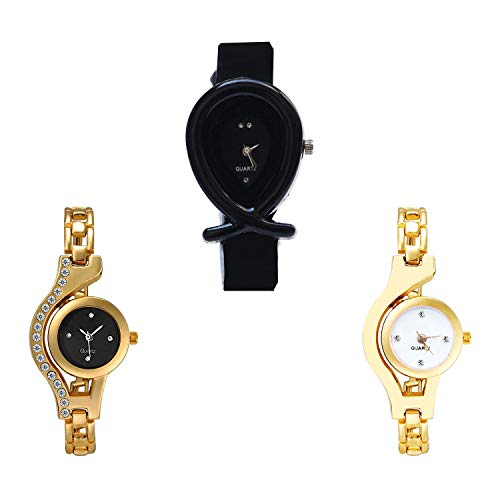 NIKOLA Fish Shape, Chain Analog Black and White Color Dial Women Watch - G55-G114-G337 (Pack of 3)
