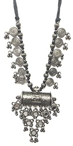 Fashion Afgani Styled Oxidized Silver Jewellery (Free Size Necklace for Women)