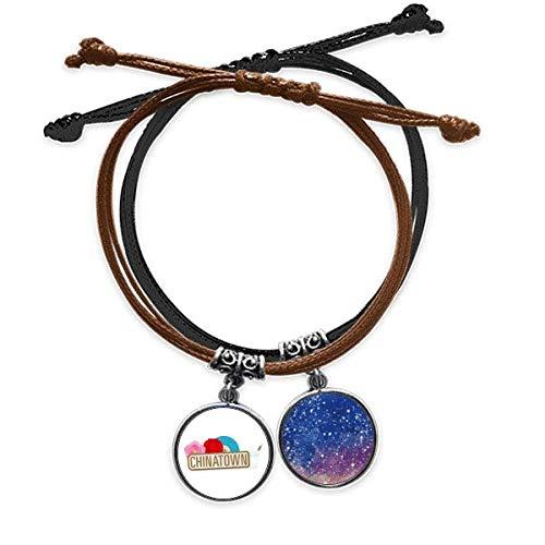 DIYthinkerFlower Lantern Fan Brown China Town Bracelet Rope Hand Chain Leather Starry Sky Wristband