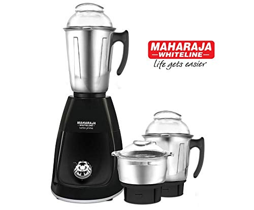 Maharaja Whiteline Turbo Prime DLX Mixer Grinder 750 Watt II Copper Motor II 3 Stainless Steel Jar II 5 Year Motor Warranty (Black)