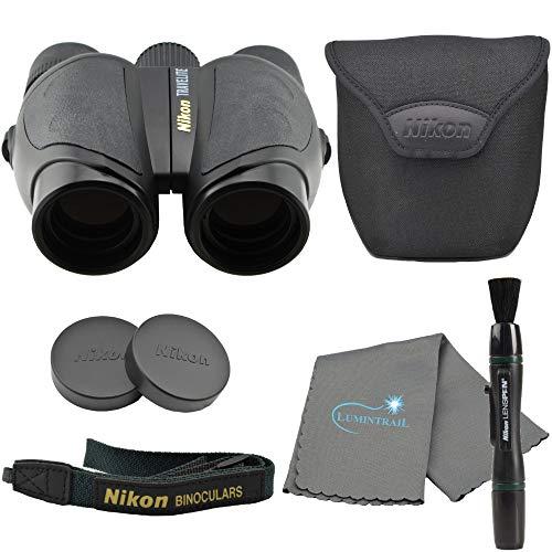 Nikon Travelite 10 x 25mm Compact Binoculars Bundle with Nikon Microfiber Optics Cleaning Cloth and Lumintrail Keychain Light