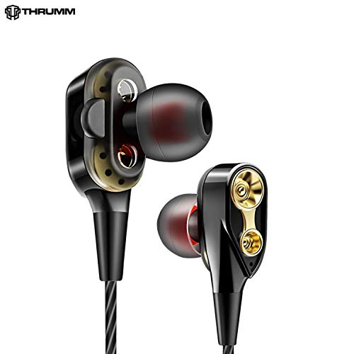 Thrumm Sonic Warrior Earphones Microphone- Duos and Dual Driver Wired Earphones with in-Line Microphone | High Bass (Black)