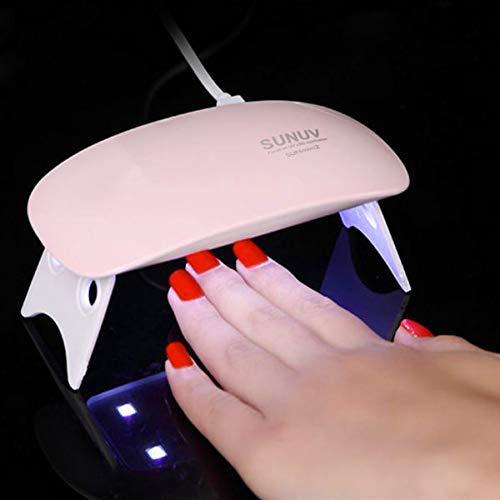 QUARK MART SUN Mini UV LED Travel Pocket Size Nail Dryer For Gel Polish Lamp Portable Curing Base Gel Top Gel Color Gel Dryer 6W Detection Light(Multi Color) (Pink)