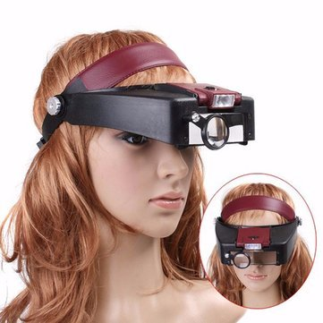 Generic 10X Lighted Magnifying Glass Headset Head Magnifier Adjustable Headband