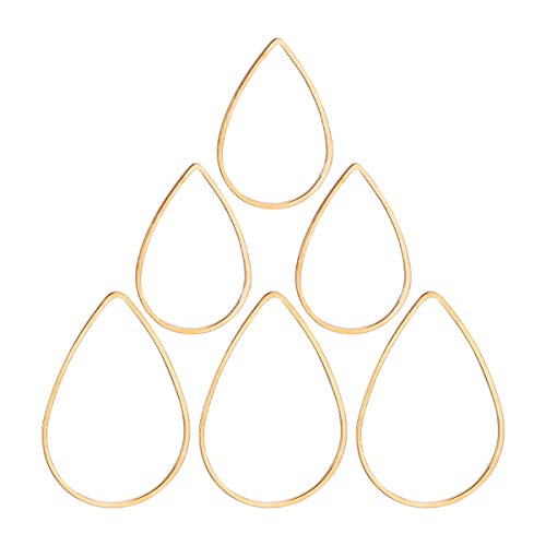 HEALLILY 60pcs Stainless Steel Earring Pendant Charms Teardrop Pendant Charms for Jewerly Necklace Bracelet Resin Golden