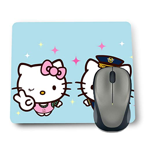 Shop-buz Printed Non Slip Rubber Two Hello Kitty MP78 Designer Mouse Pads (220 mm x 180 mm x 3 mm) Multicolor