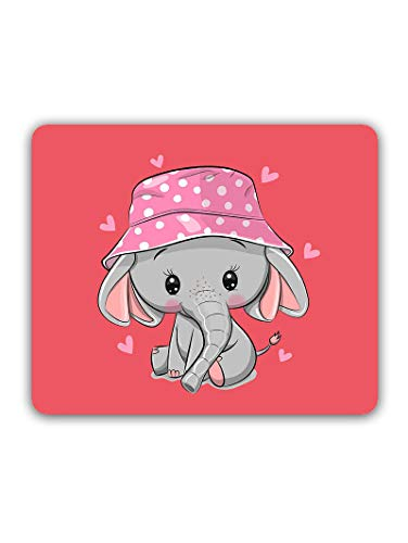 Madanyu Designer Mousepad Non-Slip Rubber Base for Gamers - HD Print - Cute Elephant with Hat