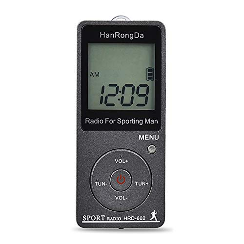 Sangmei HRD-602 Portable Radio Receiver FM/AM Radio LCD Display Lock Button Pocket Radio with Earphone Sports Pedometer TN#